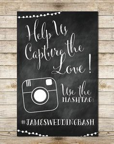 Chalkboard Instagram 11x17 Wedding Sign - Paper Goods, Hashtag Wedding, String Lights Digital Wedding Sign by Southern Spruce