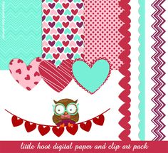 Free Download: Little Hoot Digital Papers & Clip Art |  Stephanie Fizer Coleman