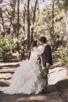 Mediterranean Forrest Wedding Inspiration at Masia Plana Mallorqui. Photo by The Visual Partners. Bride Dress by Ramon Herrerias.