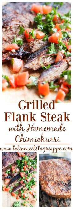 This Grilled Flank Steak with Homemade Chimichurri is such a delicious main dish. The chimichurri brings a tangy burst of flavor to this char-grilled, tender piece of meat.