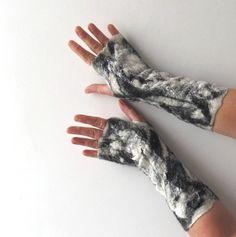 Felted fingerless gloves Mittens -  White Black. $34.00, via Etsy.