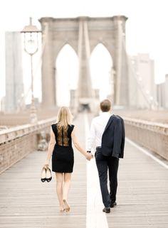 Engagement photo shoot at Brooklyn bridge, NYC