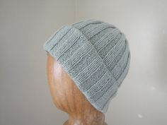 Pure Cashmere Hat Hand Knit Silver Sage Green Loose by Girlpower