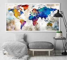 World Map Poster - Push Pin World Map Print Art World Map Travel, Large World Map Print, Watercolor World Map Wall Art Print World Map Wall Art, World Map Poster, Wall Maps, Art World, World Map Travel, Push Pin World Map, Water Color World Map, Extra Large Wall Art, Wall Art Prints