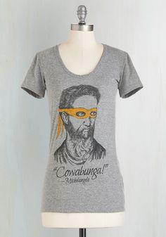 Renaissance Ninja Tee. You and this cheeky heathered-grey tee make a fearsome and fun fashion team! #grey #modcloth