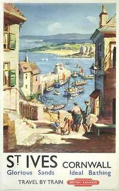 St Ives - Cornwall  Classic Vintage BR  Railway Travel Poster Art Print