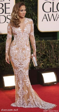 Jennifer Lopez nude lace gown