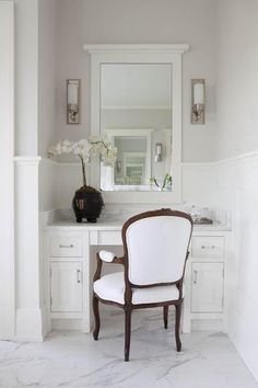 Milton Development: Master bathroom with gray paint color chair rail and white paneled walls.dark and light contrasts (mirrored vanity table sconces) Bathroom With Makeup Vanity, Paint Vanity, Built In Vanity, Mirrored Vanity, Design Salon, Marble Vanity Tops, White Vanity, Marble Top, Marble Floor