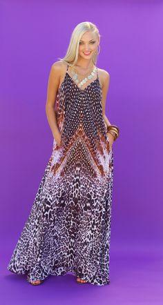 Lotta Stensson Black Feather Maxi Pocket Dress! #lottastensson #lottanyc #fashion #beachwear #resortwear #lottalove
