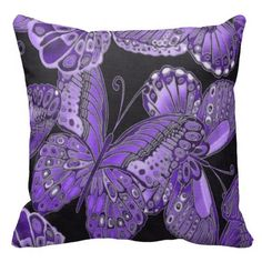 Decorative Purple Butterfly Throw Pillow
