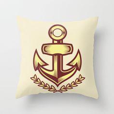 Anchor badge Throw Pillow by Sharp B.A. - $20.00