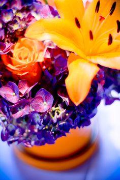 Orange and Purple Table Arrangement from Clemson Tailgate Rehearsal Dinner