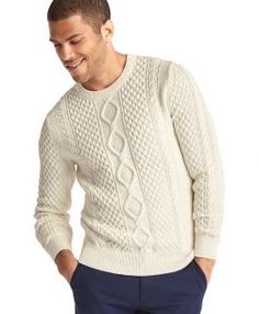 Shop Mens Big And Tall Sweaters With Vibrant Colors - Pretty Long J Crew Jeans, Crew Shirt, Tall Men Fashion, Mens Fashion, Sweaters And Jeans, Men Sweater, Chunky Cable Knit Sweater, Clothing For Tall Women, Tall Guys