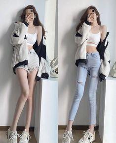 Cute Korean Fashion, Korean Fashion Dress, Ulzzang Fashion, Korean Street Fashion, Kpop Fashion Outfits, Sporty Outfits, Cute Casual Outfits, Cute Fashion, Pretty Outfits