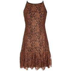 Dwanae Bronze Lace Embroidery Flounce Hem Dress ($105) ❤ liked on Polyvore featuring dresses, sexy fitted dresses, going out dresses, embroidered dress, sexy night out dresses and sexy cocktail dresses