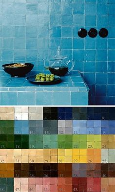 Palette of glazed Zellij tiles from Marrakech.