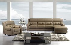 Modern Dark Tan Leather Match Sectional Sofa Set Couch Chaise Chair