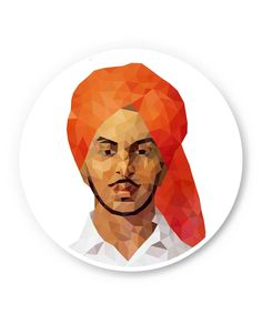 Bhagat Singh Poly Art Fridge Magnet