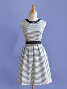 Basic Bodice pattern plus peter pan collar instructions plus box pleat skirt directions from the book Sew Many Dresses, Sew Little Time by Tanya Whelan.