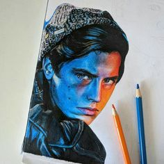 Pin by Karadenizmina on Riverdale Amazing Drawings, Realistic Drawings, Colorful Drawings, Colored Pencil Artwork, Color Pencil Art, Pencil Drawings, Art Drawings, Riverdale Cole Sprouse, Celebrity Drawings