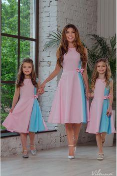 Платье для девочки с пышной юбкой и бантом • цвет: розово-голубой • интернет магазин • vilenna.ua