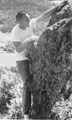 Dallas Kloke climbing on Mt. Erie in the 1960s.
