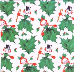 1950s CHRISTMAS GIFT WRAP / Wrapping Paper - Snow People - Vintage