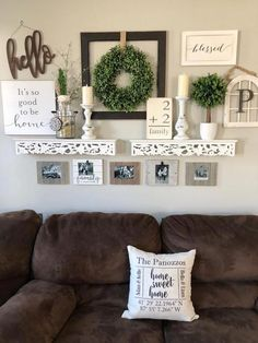 42 Farmhouse Living Room Design And Decoration Ideas To Try Asap Sweet Home, Farmhouse Wall Decor, Country Wall Decor, Modern Farmhouse Gallery Wall, Rustic Wall Decor, Entryway Decor, Easy Home Decor, Home Fashion, Furniture Arrangement