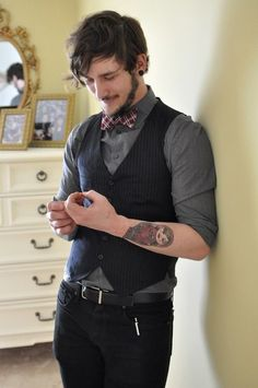 I do believe that men should wear bow ties and vests more often.  And I'm not talking at weddings.