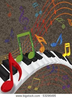 Piano Wavy Border With 3D Keys And Colorful Music Note poster. ID ...