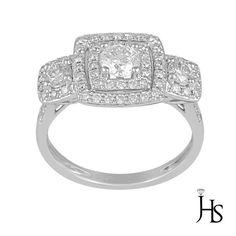 14K White Gold 1.12 Cts 3 Stone Double Halo Engagement/Fashion Diamond Ring- JHS #WomensEngagementFashionRingJewelryHotspot