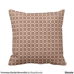 Footsteps Earthy Reversible Throw Pillow
