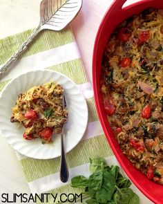 This Paleo spaghetti squash casserole recipe is a healthy, vegetable-loaded dinner. Great for food prep and meal planning!