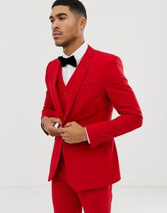 Find the best selection of ASOS DESIGN super skinny suit jacket in red. Shop today with free delivery and returns (Ts&Cs apply) with ASOS! Prom Outfits For Guys, Prom Suits For Men, Mens Red Suit, Blazers For Men Casual, Skinny Suits, Mens Fashion Blazer, Gentleman Style, Wedding Suits, Super Skinny