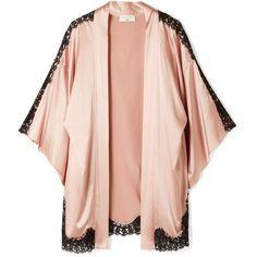 Fleur Du Mal + Kilian lace-trimmed stretch silk-satin kimono (£455) ❤ liked on Polyvore featuring intimates, robes, blush, long lingerie, orange robes, orange lingerie, satin robe and flower lingerie