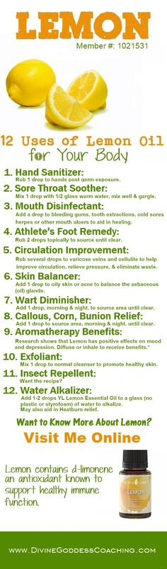 12 Uses of Lemon for the Body - www.DivineGoddessCoaching.com