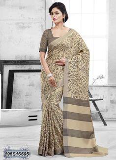 Fantastic Beige Coloured Bhagalpuri silk casual Saree