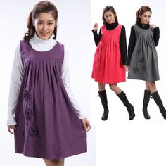 9696c3b72e8 Free Shipping Autumn Winter Maternity Clothing Casual Knee-Length Wool Tank  Dress Maternal Clothes for