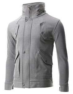 FLATSEVEN Mens Bomber Hooded Zip-up Button High Neck Jacket with Pocket (JK401) Grey, L FLATSEVEN http://www.amazon.co.uk/dp/B00NHCPMF6/ref=cm_sw_r_pi_dp_Vcllub1WGBESP