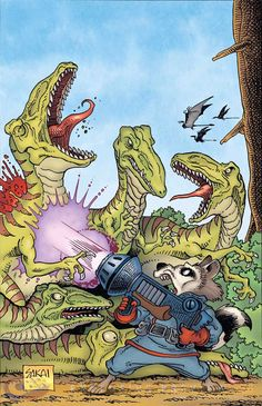 'Usagi Yojimbo' creator Stan Sakai lends his hand to a 'Rocket Raccoon' variant cover, which features the book's hero blasting away dinosaurs. Rocket Raccoon, Raccoon Art, Comic Book Artists, Comic Books Art, Comic Art, Usagi Yojimbo, Hooked On A Feeling, Marvel Now, Comic Book Covers