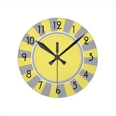 Yellow and Gray Starburst Stripes Clock