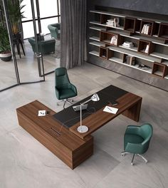 L-shaped office desk with cable management DUCALE By ESTEL GROUP Modern Office Table, Office Table Design, Corporate Office Design, Office Furniture Design, Home Office Setup, Office Interior Design, Office Interiors, Business Office Decor, Corporate Offices
