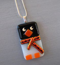 Fused Glass Penguin Pendant Holiday Jewelry Winter by GlassCat, $20.00