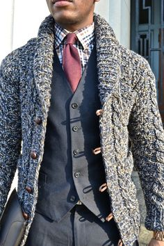 chunky mixed yarns. leather trims. waistcoat & tie.