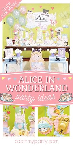 Feast your eyes on this delightful Alice in Wonderland 1st birthday party! The cake is amazing! See more party ideas and share yours at CatchMyParty.com