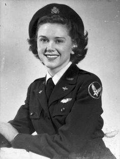 Women in WWII - Portrait of Susie Winston Bain in WASP santiago blue dress uniform and beret, taken in Airforce service pilot
