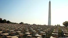 Obliquely linked to reading, yes, but I just think this is cool - An installation of 857 empty school desks in Washington DC