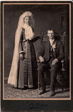 "On the Wedding Day, Albumen Cabinet Card, Circa 1890  This cabinet card now in my collection formerly belonged to Anne Rice, author of ""Interview with the Vampire"" and many other books. Apparently while she was researching early photography for one book, she ended up establishing a collection that she has now sold.  This really is an exceptionally lovely Wedding photo. The bride's hair piece and veil is magnificent.  The card is marked ""Williams, Sedalia, Mo."""