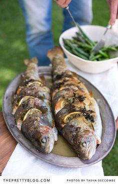 Whole grilled trout stuffed with lemon, fennel & herbs | Photographers: @Tasha Seccombe , Recipe, testing & preparation: Ilse van der Merwe, Styling: @Tasha Seccombe  & @Nicola Pretorius , Oval platter : Nest Vintage Shop