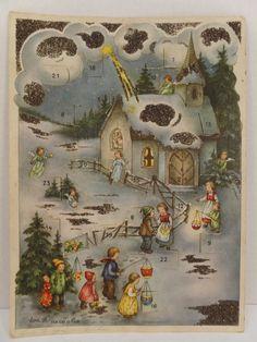 Vintage Haco #0168 Paper Christmas Advent Calendar Church Angels & Children